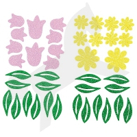 Moosgummi Glitter-Sticker – Blumen